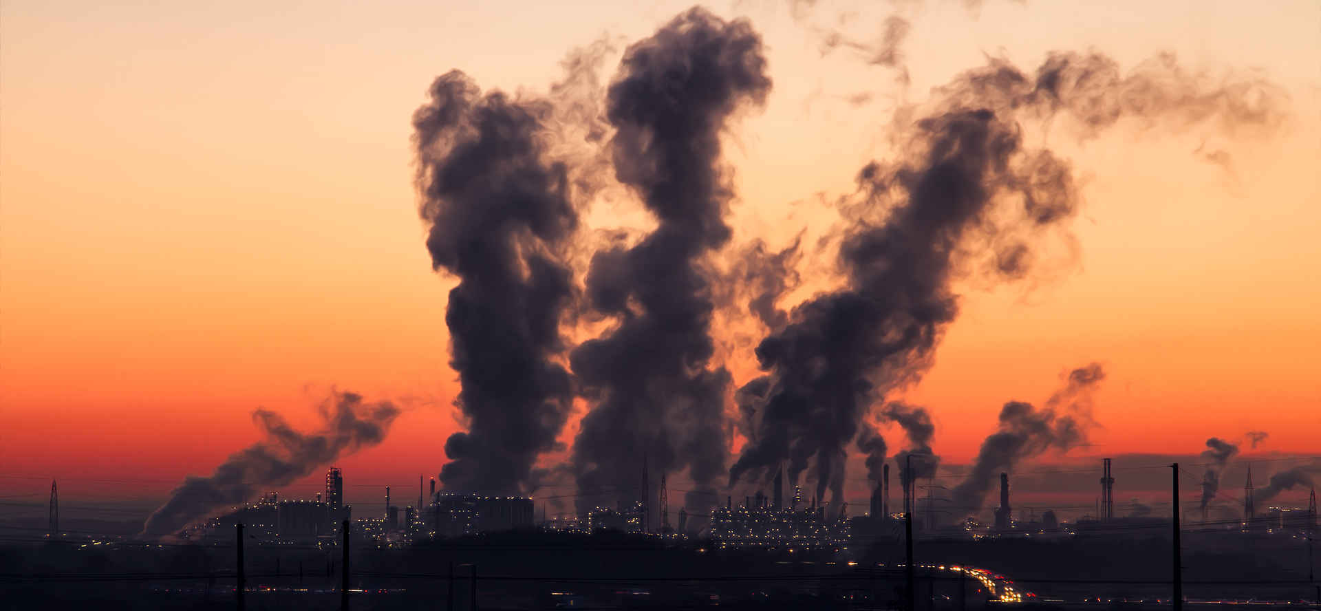 A polluted and smoky environment, illustrating the influence of pollution on unethical behavior.