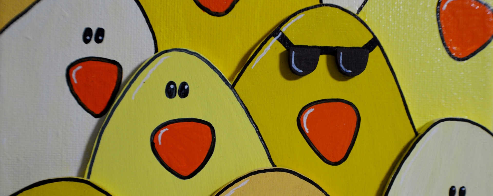 A depiction of how darkness influences unethical behavior, showing a chicken with sunglasses in the middle of other chickens without sunglasses.