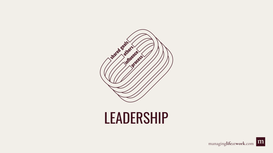 The key elements of leadership: Process, influence, others, and shared goals.