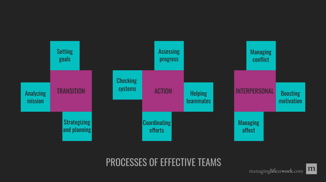 Processes of effective teams: Transition, action, and interpersonal.